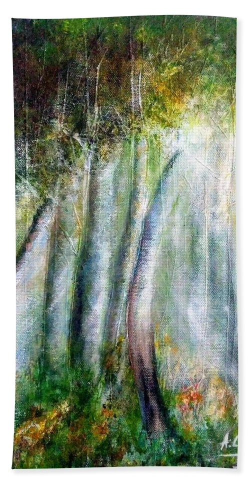 Hand Towel featuring the painting Trees 1 by Anthony Camilleri