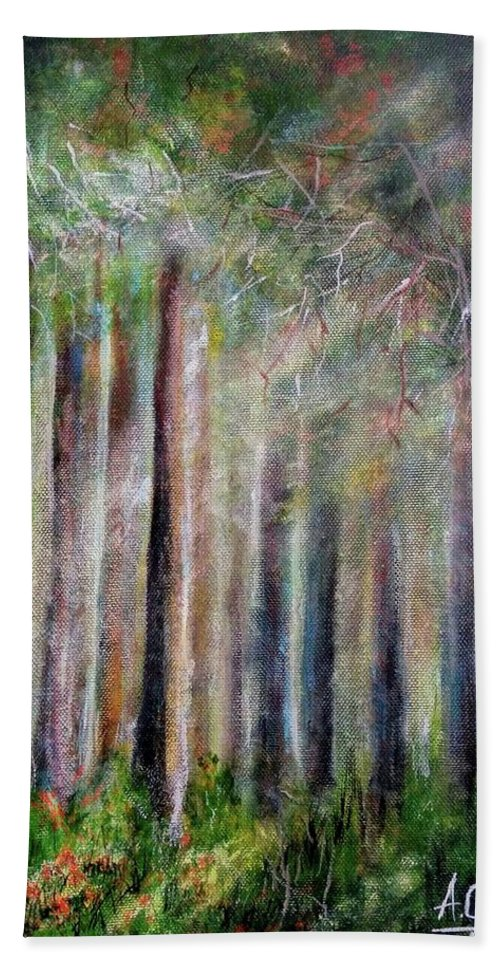 Hand Towel featuring the painting Trees 2 by Anthony Camilleri