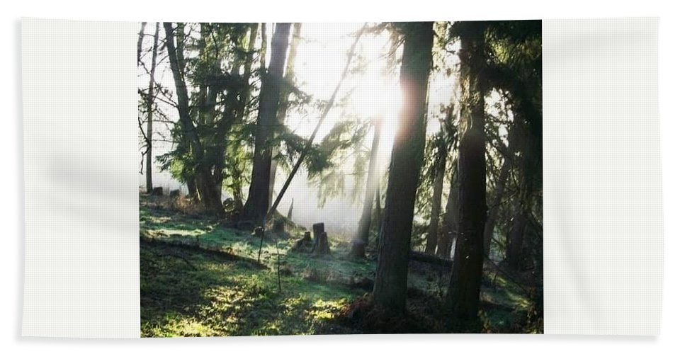 Trees Fog Hand Towel featuring the photograph Trees by Amber Carpenter