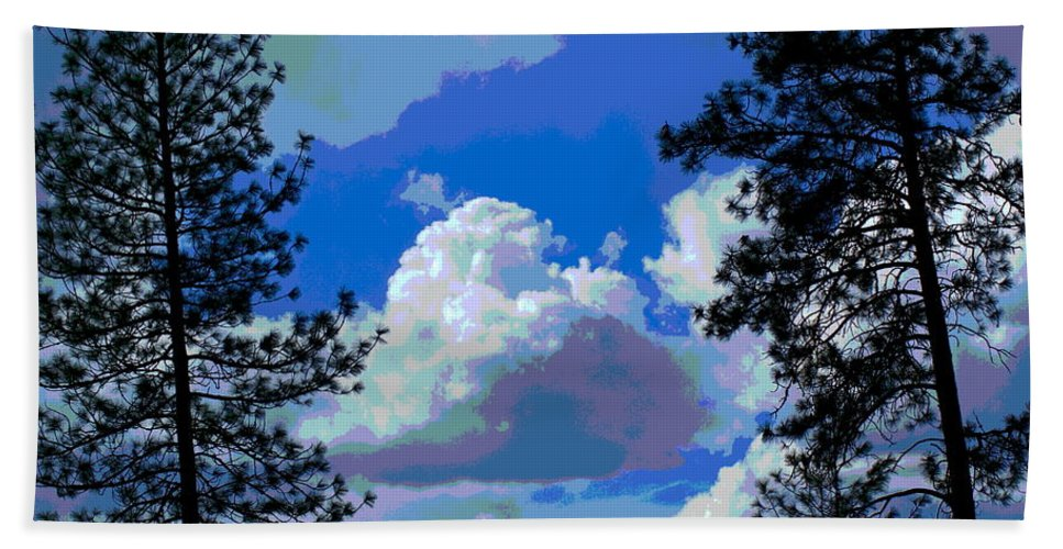 Photo Art Hand Towel featuring the photograph Trees And A Cloud For Crying Out Loud by Ben Upham III