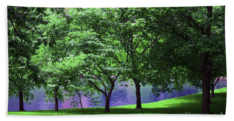 Trees Hand Towel featuring the photograph Trees By A Pond by Madeline Ellis