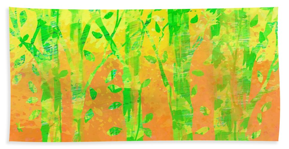 Abstract Hand Towel featuring the digital art Trees In The Grass by Rachel Christine Nowicki