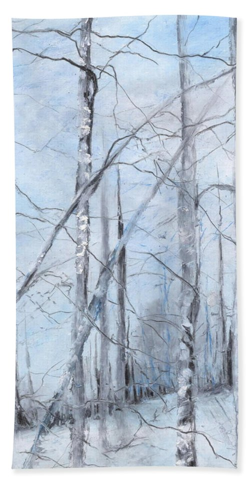 Trees Bath Towel featuring the painting Trees In Winter Snow by Robin Miller-Bookhout