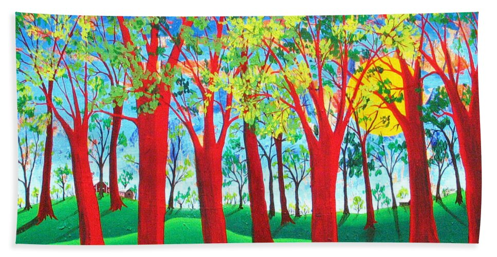 Rollin Kocsis Bath Towel featuring the painting Trees of Red by Rollin Kocsis