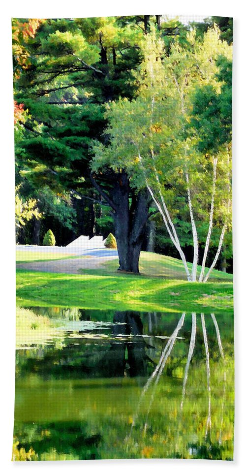 Trees With Mirror Lake Hand Towel featuring the painting Trees With Mirror Lake 2 by Jeelan Clark