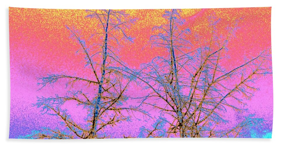 Abstract Bath Sheet featuring the digital art Treetops 1 by Will Borden