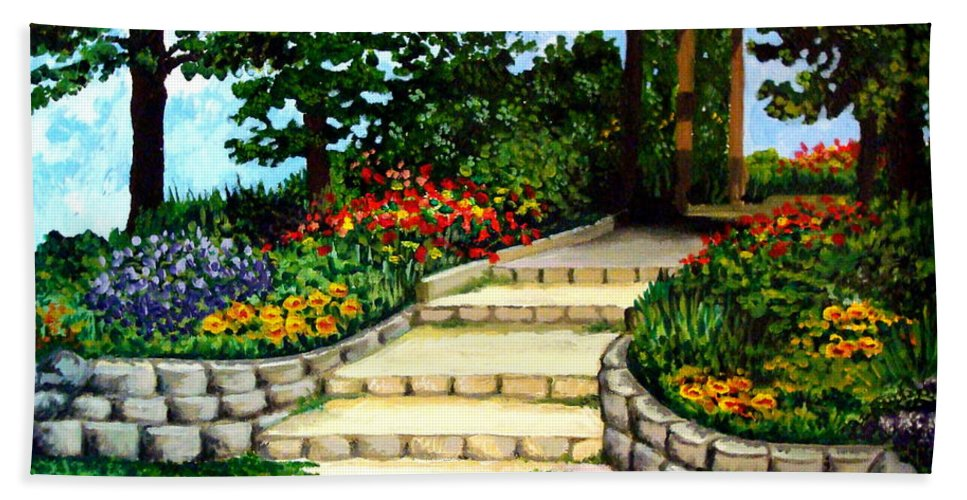 Landscape Bath Sheet featuring the painting Trellace Gardens by Elizabeth Robinette Tyndall
