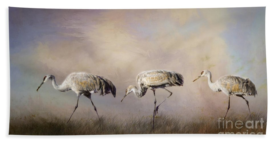 Crane Bath Sheet featuring the painting Tres Amigos by Janice Pariza