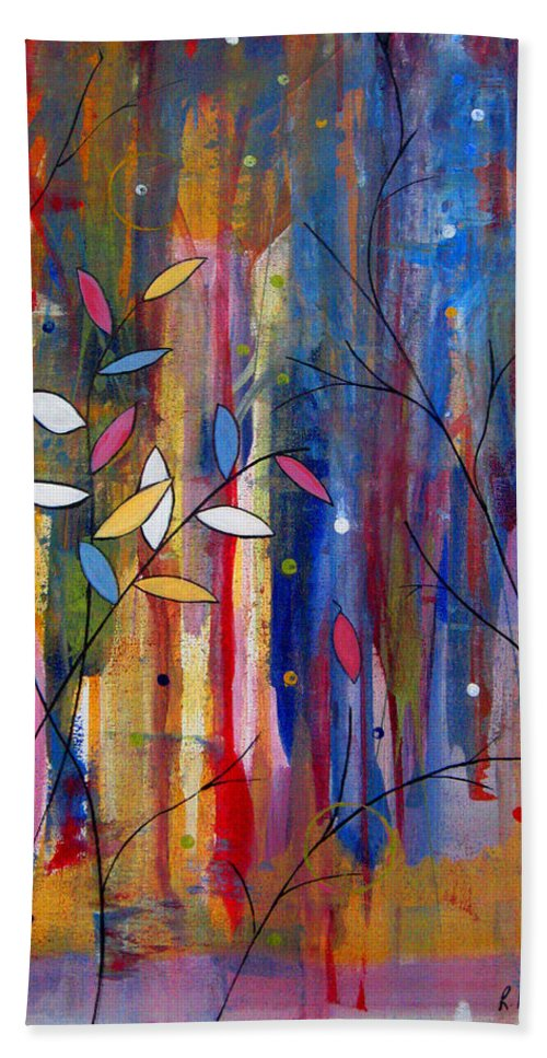 Abstract Bath Sheet featuring the painting Tres Jolie by Ruth Palmer