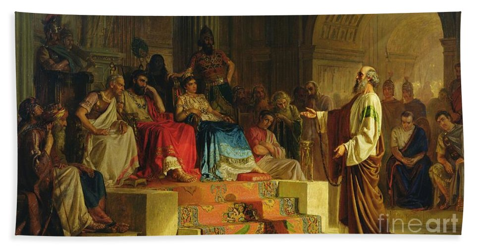 Nikolai K Bodarevski Hand Towel featuring the painting Trial Of The Apostle Paul by Nikolai K Bodarevski