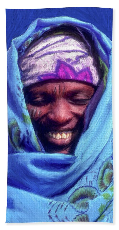 Tribesman Hand Towel featuring the painting Tribesman by Dominic Piperata