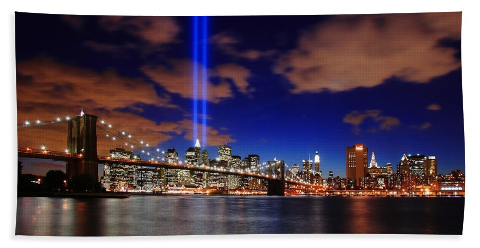 New York City Hand Towel featuring the photograph Tribute In Light by Rick Berk