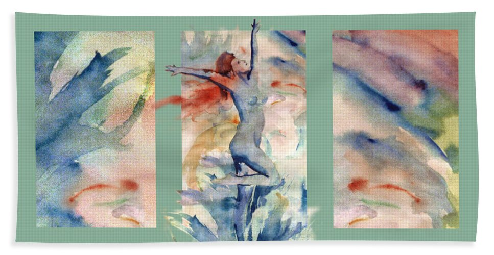 Abstract Hand Towel featuring the painting Tribute by Steve Karol