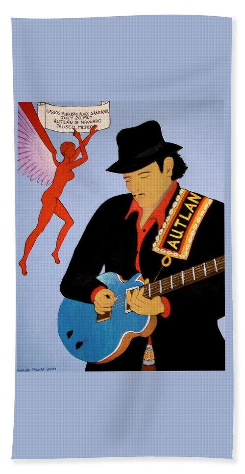 Carlos Santana Hand Towel featuring the painting Tribute To Carlos by Stephanie Moore
