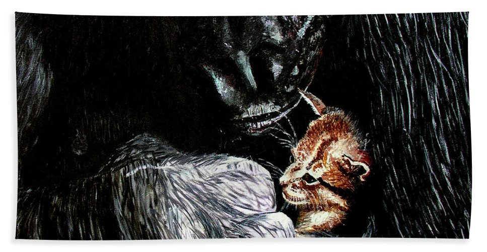 Gorillia Bath Towel featuring the painting Tribute To Koko by Stan Hamilton