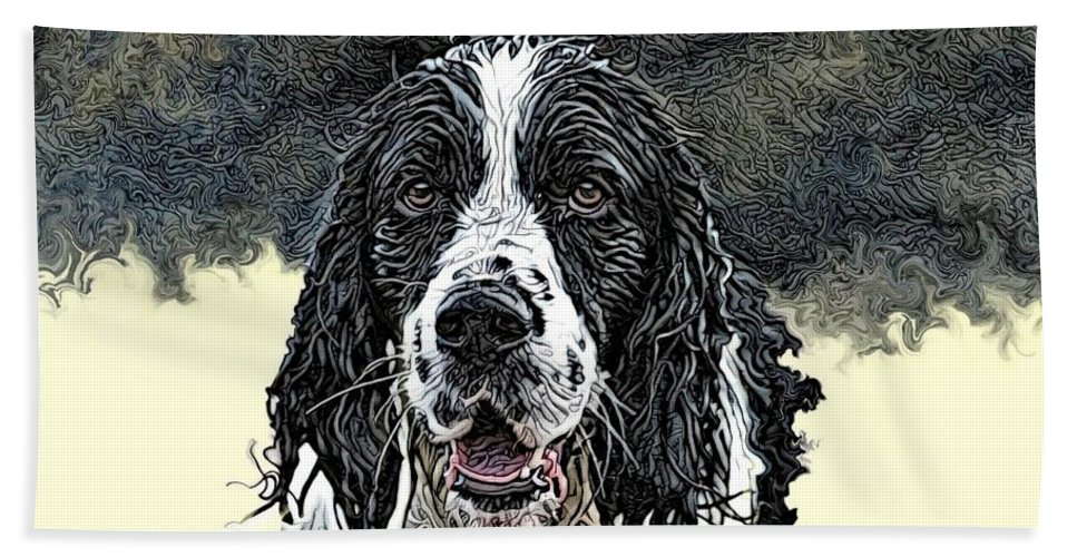 Digital Art Hand Towel featuring the digital art Tribute To Spot. Rip by Artful Oasis