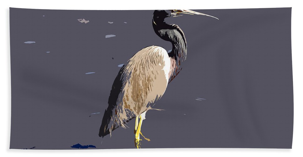 Tricolor Ed Heron Hand Towel featuring the photograph Tricolored Heron by David Lee Thompson