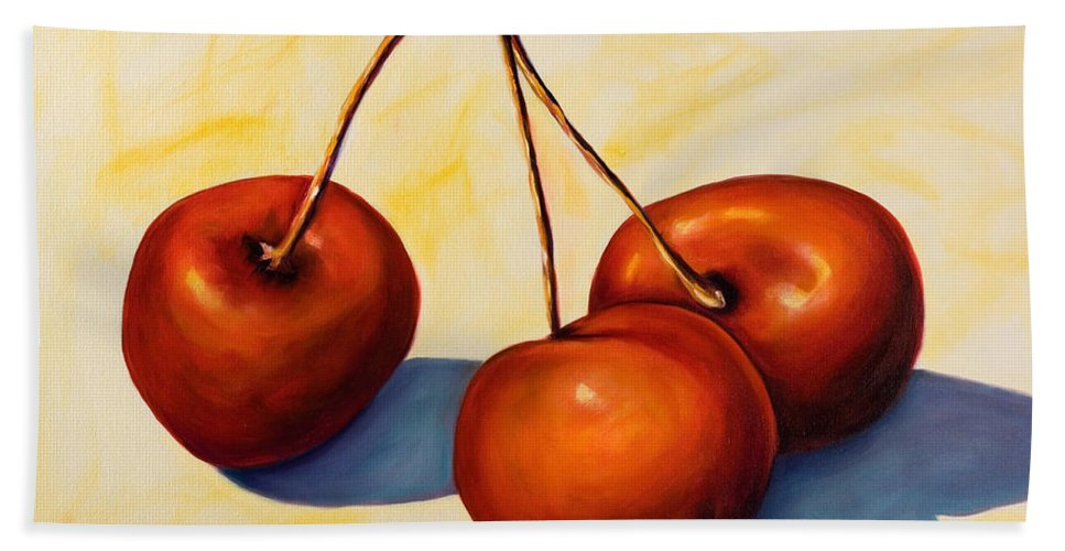 Cherries Bath Towel featuring the painting Trilogy by Shannon Grissom