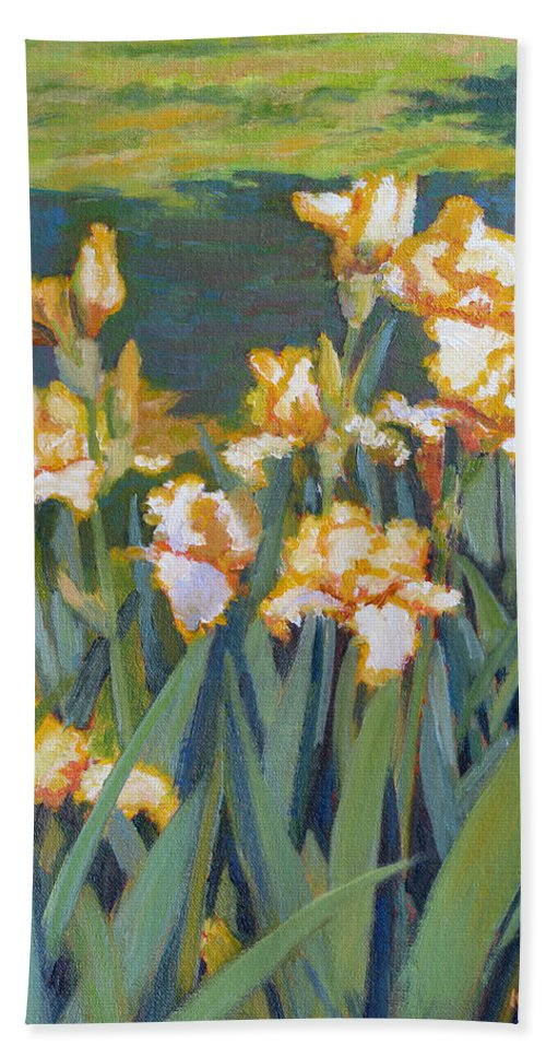 Impressionism Bath Towel featuring the painting Trimmed In Gold by Keith Burgess
