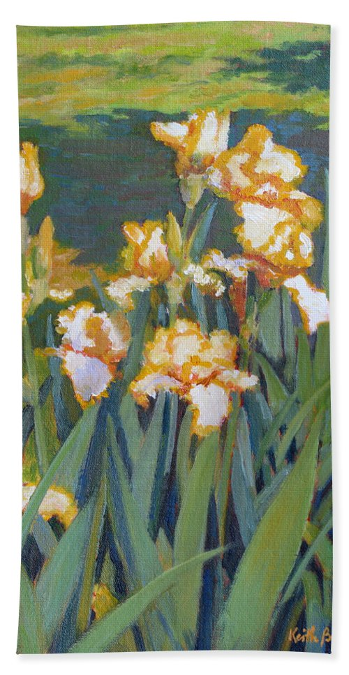 Impressionism Bath Sheet featuring the painting Trimmed In Gold by Keith Burgess
