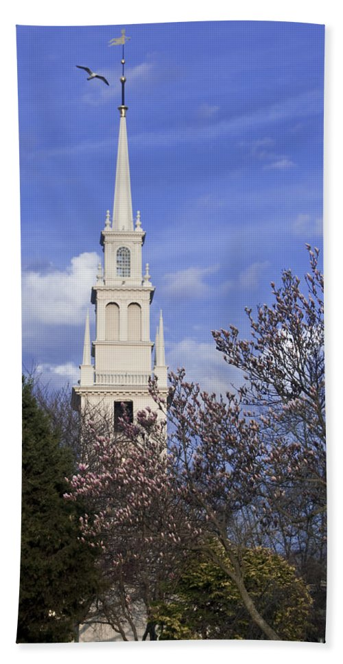Trinity Church Bath Sheet featuring the photograph Trinity Church In Spring by Steven Natanson