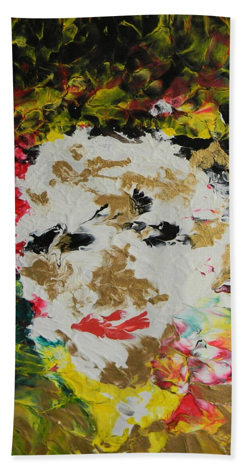 Trinity Bath Sheet featuring the painting Trinity Panel One by Marwan George Khoury