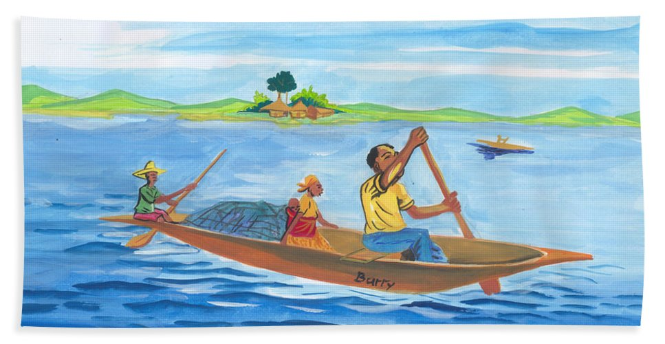 Landscapes Hand Towel featuring the painting Trip To Lake Kivu In Congo by Emmanuel Baliyanga