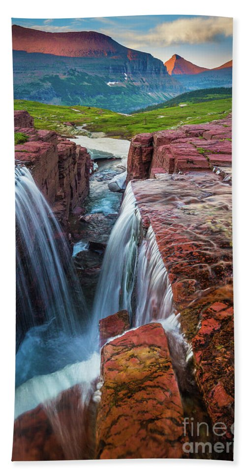 America Hand Towel featuring the photograph Triple Falls Sunset by Inge Johnsson