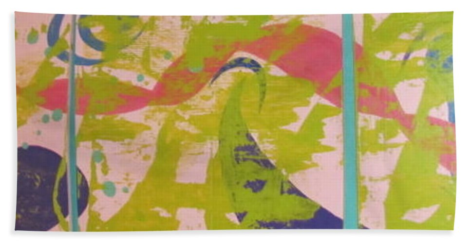 Abstract Bath Sheet featuring the painting Triple by Penny Stark