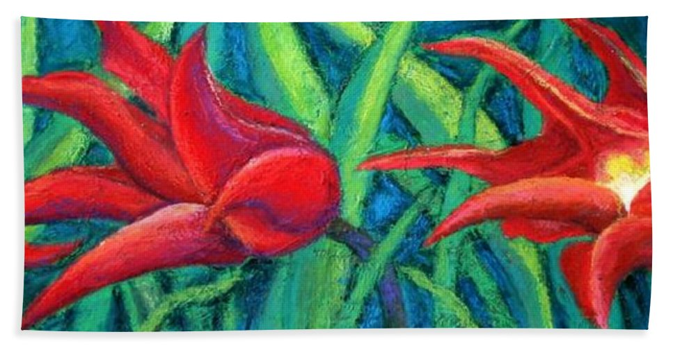 Tulips Bath Sheet featuring the painting Triple Tease Tulips by Minaz Jantz