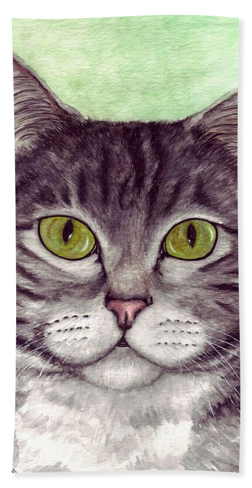Cat Hand Towel featuring the painting Tripper by Kristen Wesch