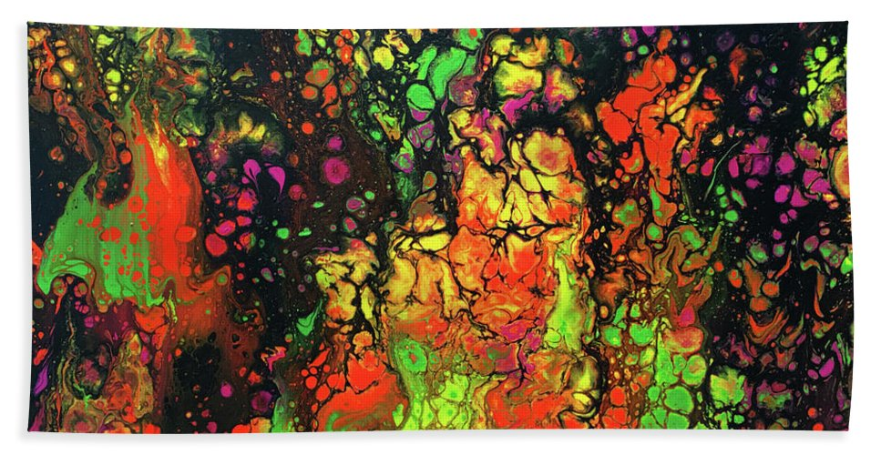 Abstract Acrylic Pour Hand Towel featuring the painting Trippin' In The 70's #13 by Karen Chatham