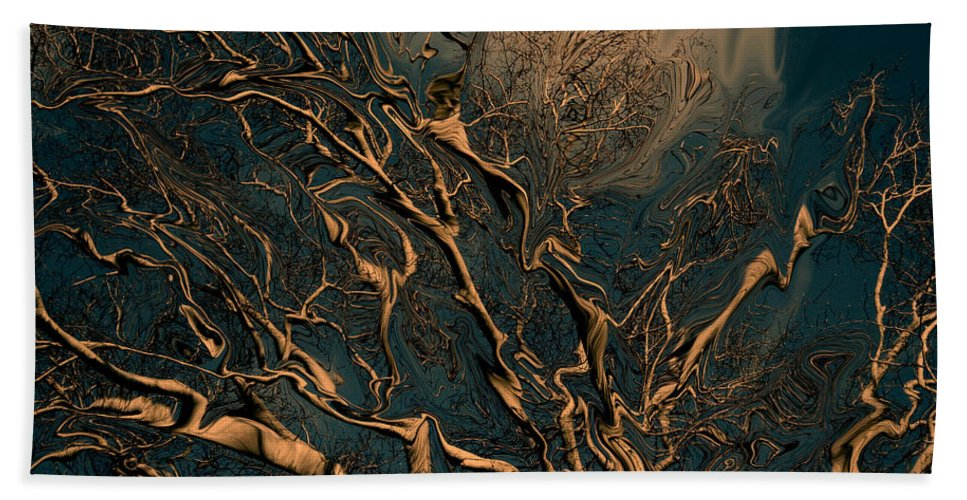 Trees Nature Abstract Digital Painting Bath Towel featuring the photograph Trippy Tree by Linda Sannuti