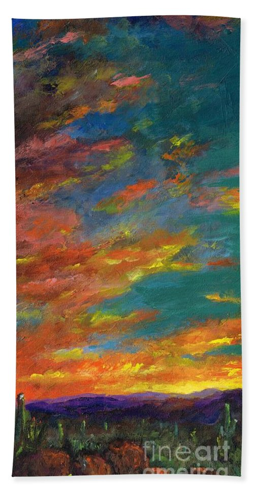 Desert Bath Towel featuring the painting Triptych 1 Desert Sunset by Frances Marino