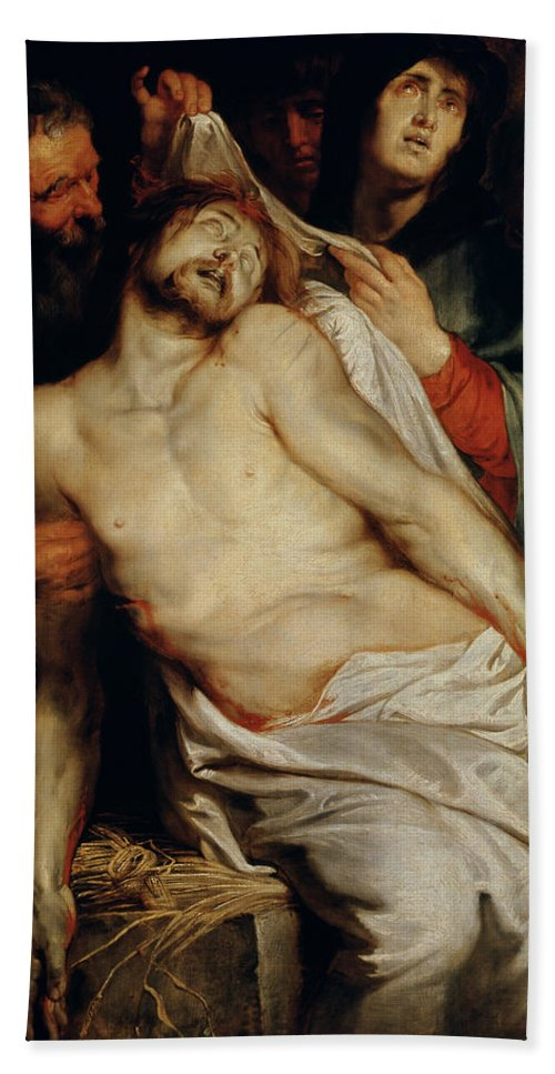 Triptych Of Christ On The Straw Hand Towel featuring the painting Triptych Of Christ On The Straw by Rubens