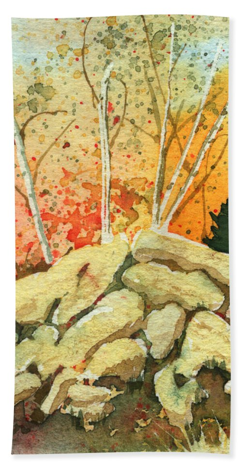 Landscape Bath Sheet featuring the painting Triptych Panel 2 by Lynn Quinn