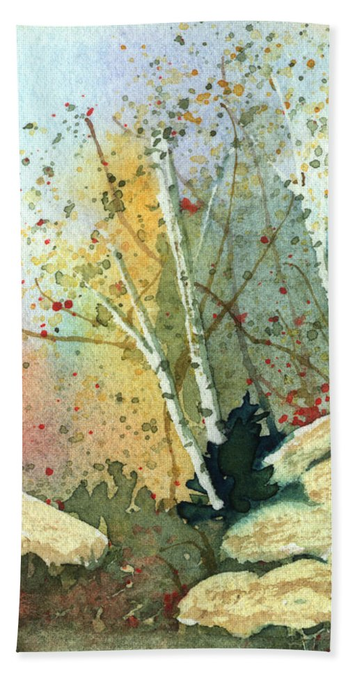 Landscape Hand Towel featuring the painting Triptych Panel 3 by Lynn Quinn
