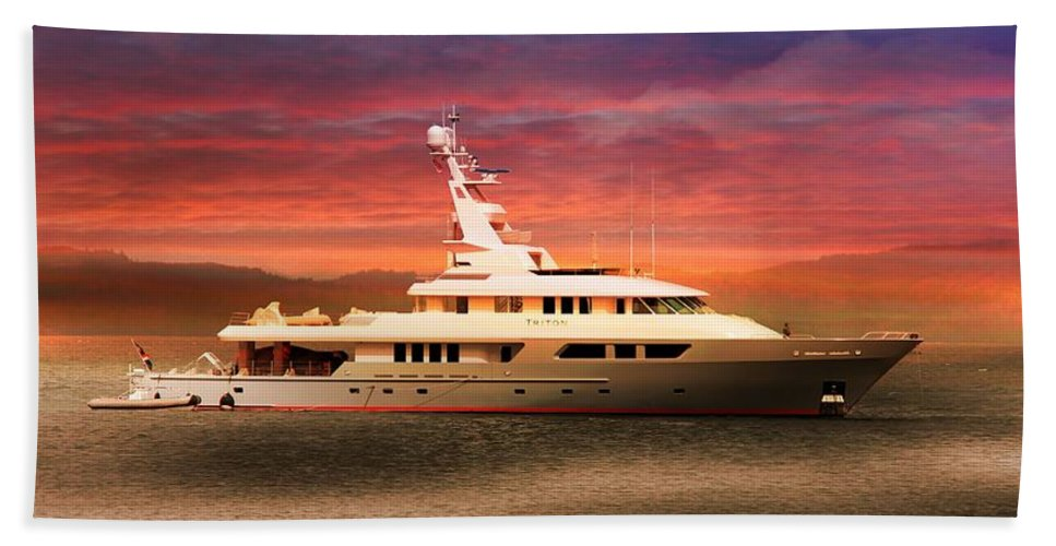 Triton Yachts Bath Towel featuring the photograph Triton Yacht by Aaron Berg