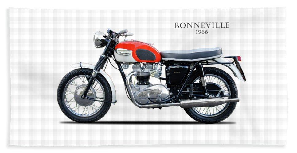 Triumph Bonneville Bath Sheet featuring the photograph Triumph Bonneville 1966 by Mark Rogan