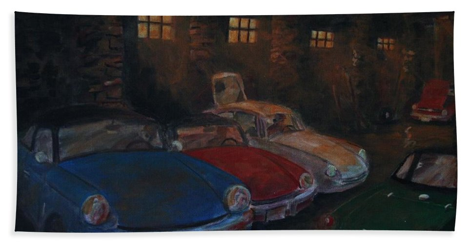 British Sports Cars Hand Towel featuring the painting Triumph Garage by William Bezik