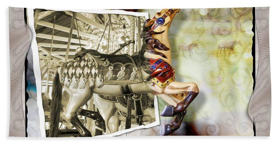 Carousel Horses Bath Towel featuring the photograph Triumph by Susan Kinney