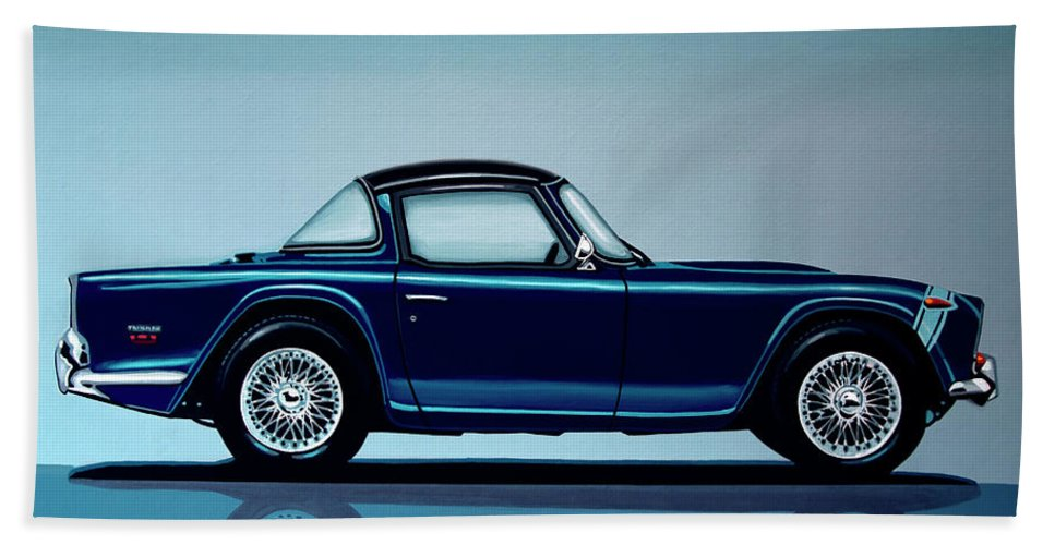 Triumph Tr5 Bath Towel featuring the painting Triumph Tr5 1968 Painting by Paul Meijering