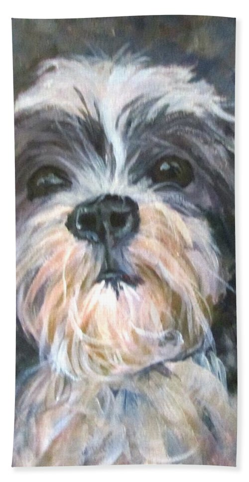 Dog Hand Towel featuring the painting Trixie by Barbara O'Toole
