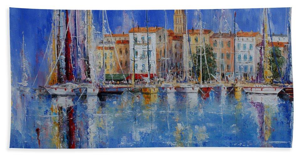 Ports Hand Towel featuring the painting Trogir - Croatia by Miroslav Stojkovic - Miro