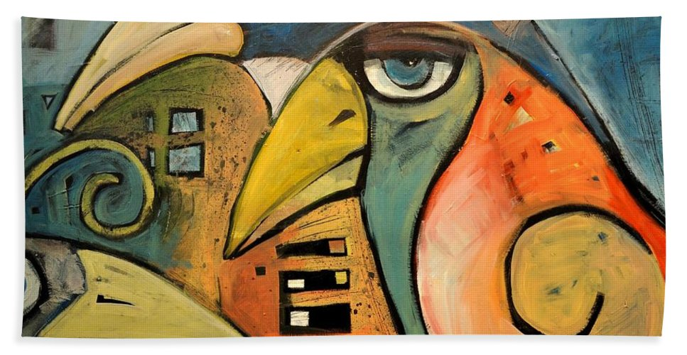 Birds Bath Towel featuring the painting Trois Oiseaux by Tim Nyberg
