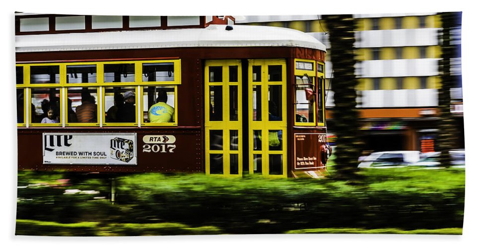 Trolley Hand Towel featuring the photograph Trolley Car In Motion, New Orleans, Louisiana by Chris Coffee