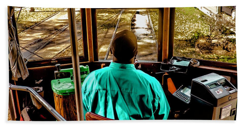 Street Photo Hand Towel featuring the photograph Trolley Driver In New Orleans by Stan Roban