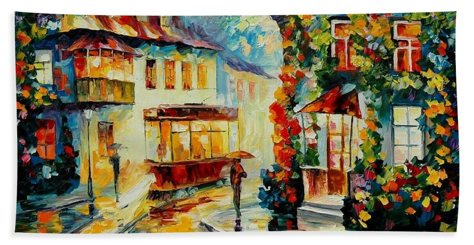 Afremov Bath Sheet featuring the painting Trolley by Leonid Afremov