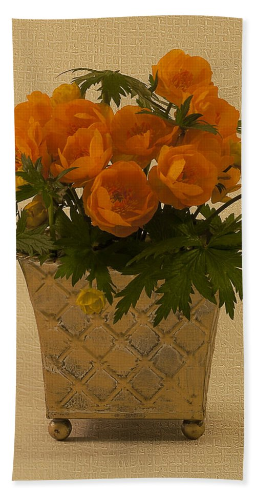 Trollius Hand Towel featuring the photograph Trollius by Sandra Foster