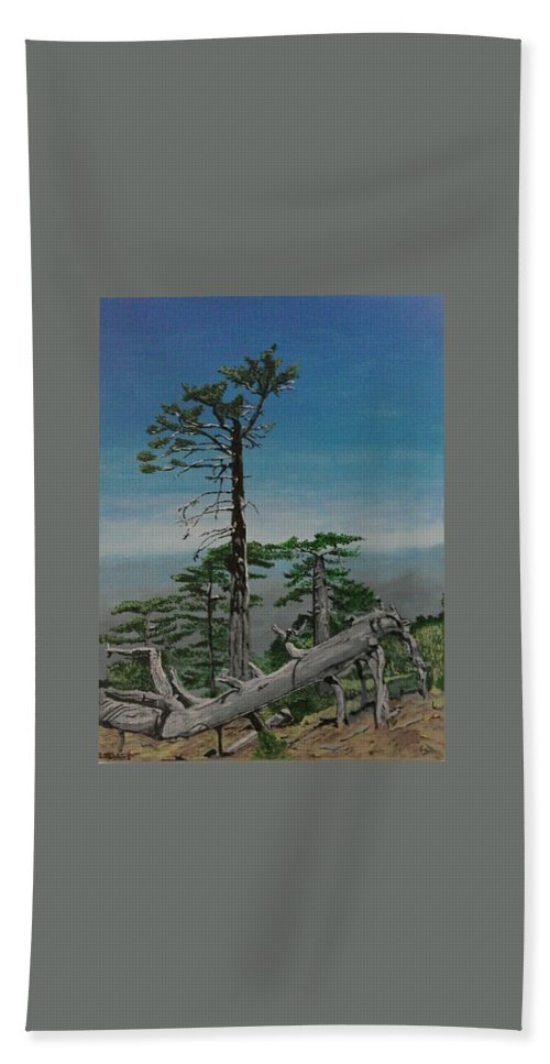 Troodos Mountains Hand Towel featuring the painting Troodos Mountain by Paul Gibbins